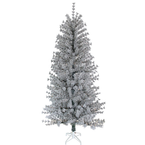 "Holiday Time Pre-Lit 6.5"" LED Winter's Eve Pine Artificial Christmas Tree, Green/White"