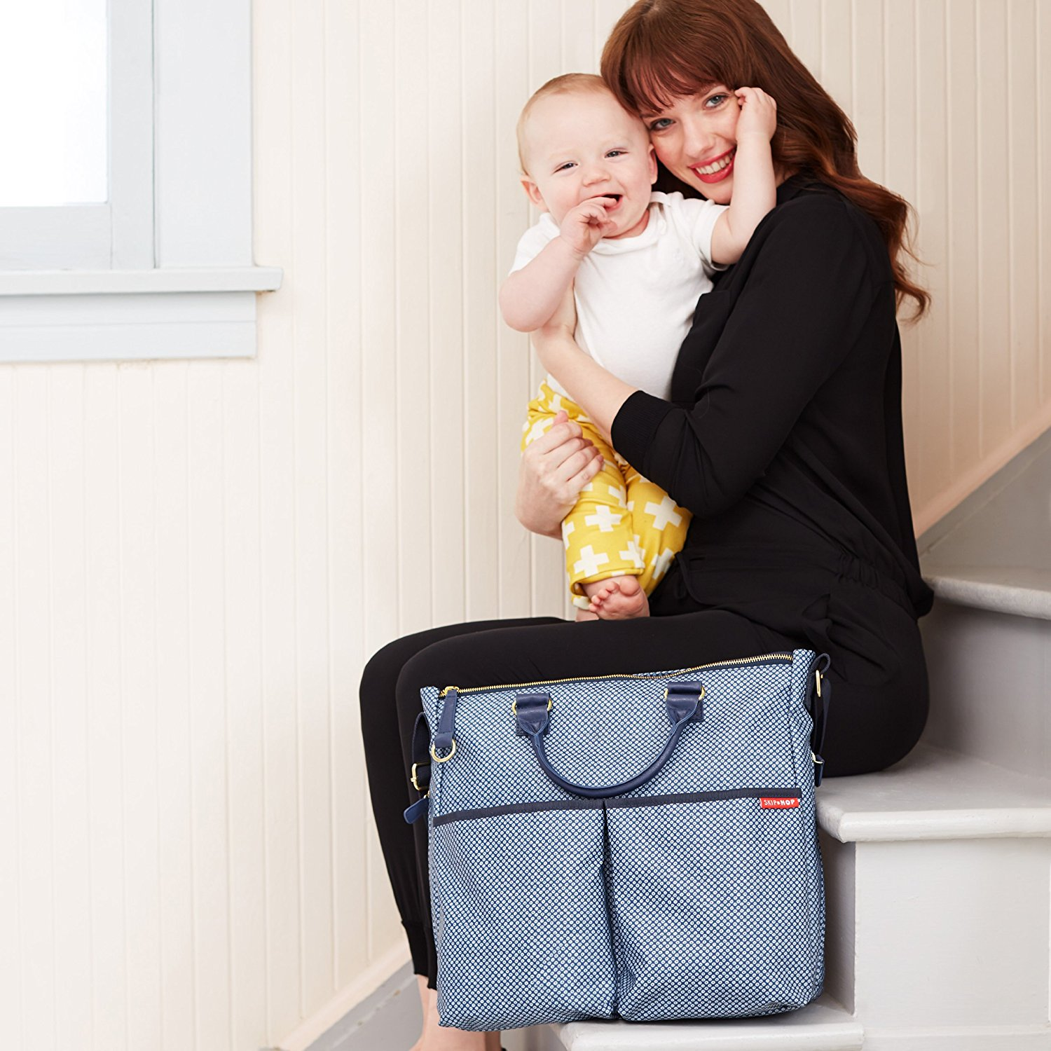 cf634eff9240f Skip Hop Duo Special Edition Diaper Bag, Blue Pinpoint Multi-Colored