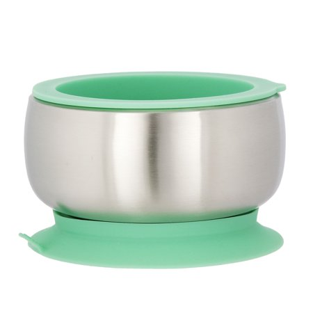 AVANCHY STAINLESS STEEL SUCTION BABY BOWL +AIR TIGHT LID. GREEN
