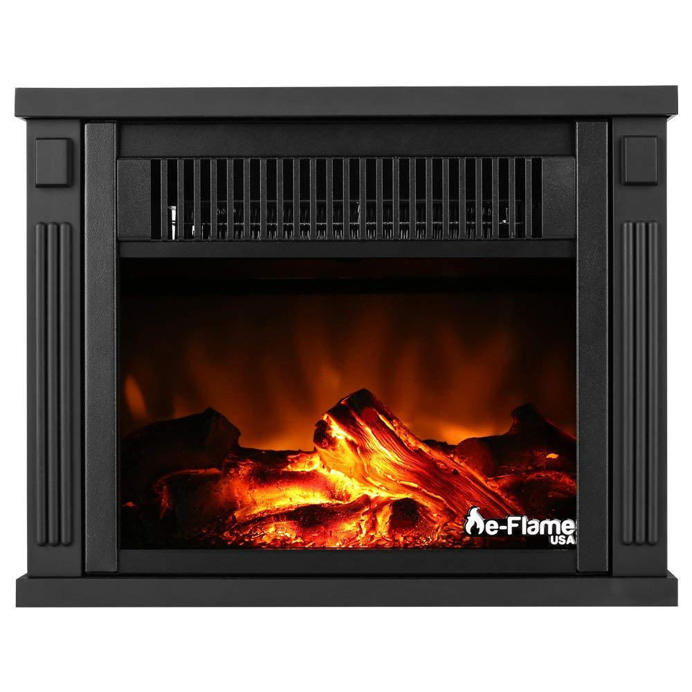 "13"" Compact Faux Wood Encased Portable Electric Fireplace Heater - Dark Wood by e-Flame USA"