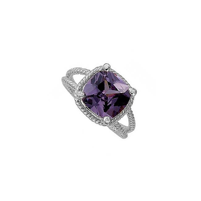 6 CT 925 Sterling Silver Cushion Cut Square Amethyst Bezel Set Cubic Zirconia Fashion Ring, Size 6 - image 1 de 1