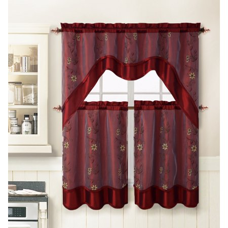 Burgundy 3 Piece Kitchen Window Curtain Treatment Set: 2 Layer, Embroidered Sheer Design, 2 Tiers and 1