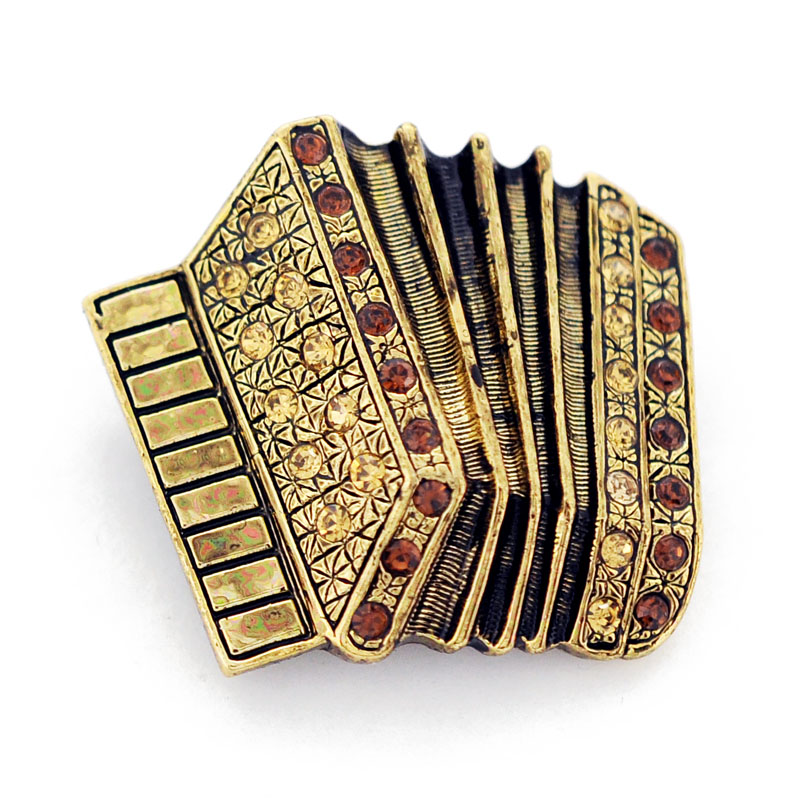 Topaz Brass Accordion Pin Music Brooch Pin by