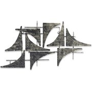 DecorShore Lost at Sea Handcrafted Nautical Sails Abstract Metal Wall Sculpture - Large 30 in x 15 in. Wall Decor Home Accent - Galvanized Iron Sheet Metal Art with Distressed Finish