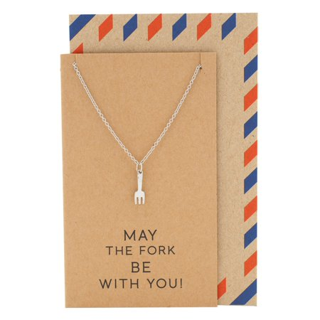 (Quan Jewelry Fork Charm Necklace for Women, with Get Well and Good Luck Card, Gifts for Chefs)