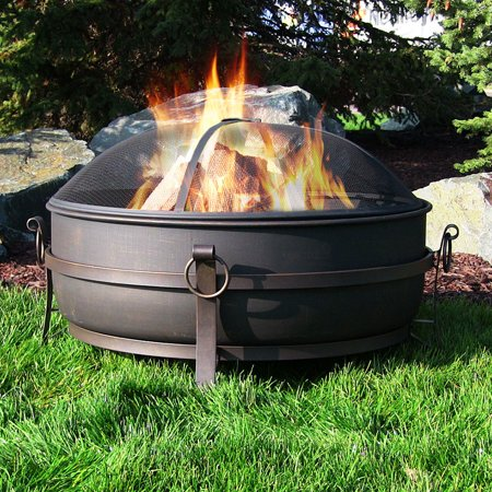 Sunnydaze Large Outdoor Fire Pit with Spark Screen, 34 Inch Steel Cauldron