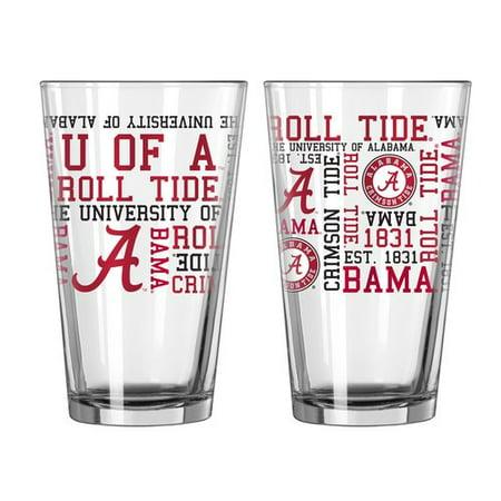 Boelter Brands NCAA Set of Two 16 Ounce Spirit Pint Glass Set, University of Alabama Crimson -