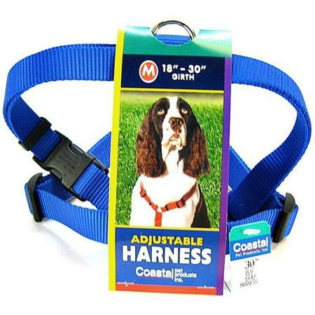 Tuff Collar Nylon Adjustable Harness   Blue Medium    18 30 Inch Girth X 3 4 Inch Wide