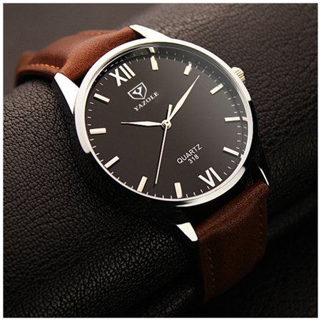 Fashion Simple Analog Quartz Watch Business Casual Leather Band Wristwatch for Men Color:Brown Band Black Dial