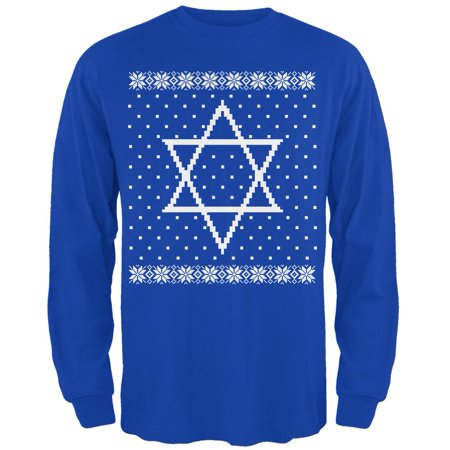 Big Star of David Ugly Hanukkah Sweater Mens Long Sleeve T Shirt (Ugly Sweater T-shirt)