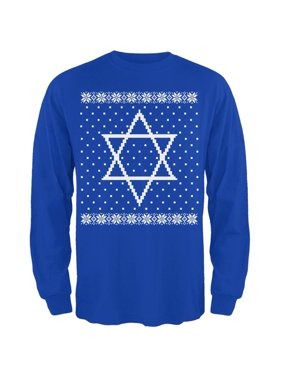 2da16705 Product Image Big Star of David Ugly Hanukkah Sweater Mens Long Sleeve T  Shirt