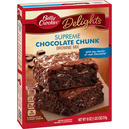 (4 Pack) Betty Crocker Delights Brownie Mix Supreme Chocolate Chunk, 18 oz - Halloween Chocolate Brownies