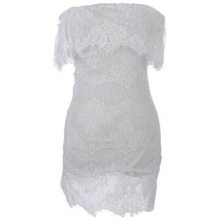 S/M Fit White Antique Lace Inspired Overlay Cut Out Back Mini Dress](Antique Dress)