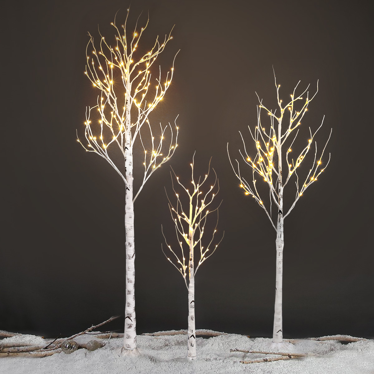 EXCELVAN 2.1M/7FT 120LED Silver Birch Twig Tree Light, Decorative ...