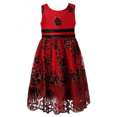 Richie House Little Girls Red Black Floral Embroidered Party Dress 10/11