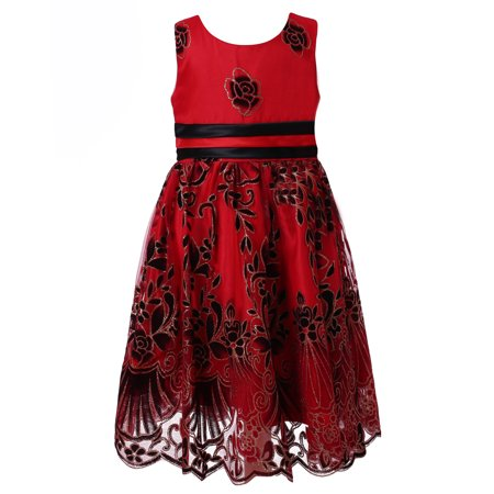 Richie House Little Girls Red Black Floral Embroidered Party Dress 10/11](Girls Red Party Dress)