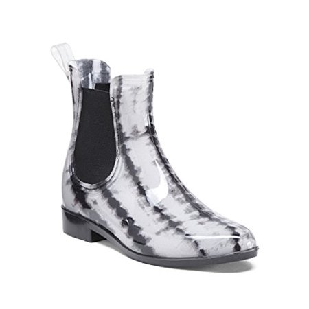 Nicole Miller Pull On Chelsea Rain Boots With goring Side Panels (7 B(M) US, Shibori)