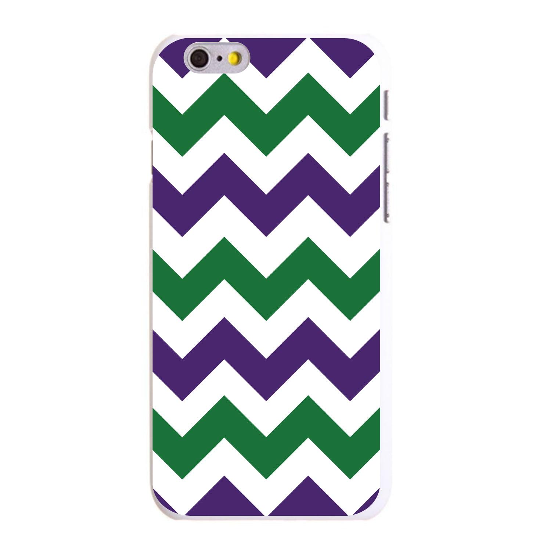 "CUSTOM White Hard Plastic Snap-On Case for Apple iPhone 6 PLUS / 6S PLUS (5.5"" Screen) - Purple Green Chevron Stripes"