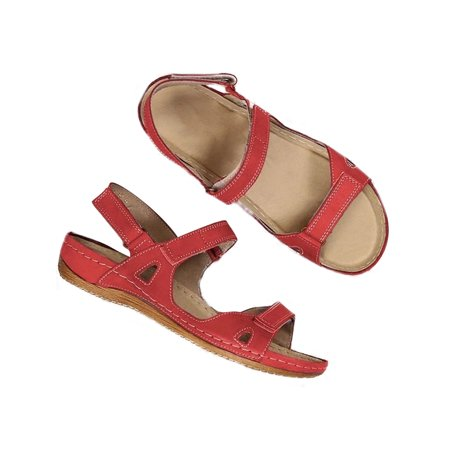 Womens Summer Ankle Strap Flat Casual Open Toe Shoes Hollow Beach Velcro Sandals