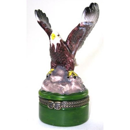 Porcelain Hinged Trinket Jewelry Box - American Bald Eagle Hinged Trinket Box phb