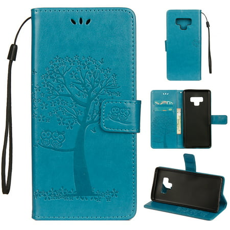 Note 9 Case, Samsung Galaxy Note 9 Case - Allytech Premium Wallet PU Leather with Fashion Embossed Floral Tree Owl Magnetic Clasp Card Holders Flip Cover with Hand Strap, Blue ()