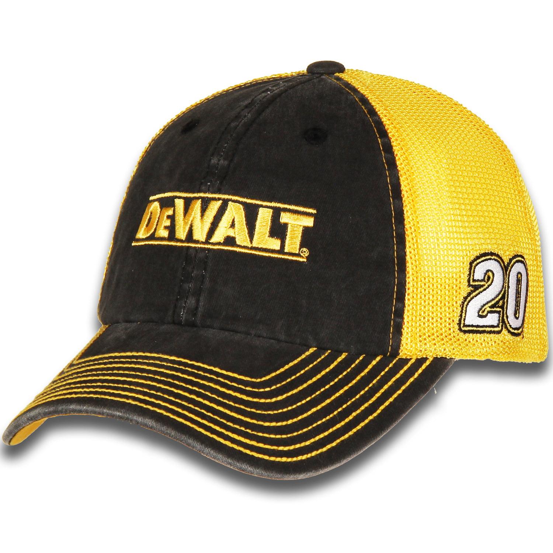 Erik Jones Joe Gibbs Racing Team Collection DEWALT Vintage Adjustable Trucker Hat - Black/Yellow - OSFA