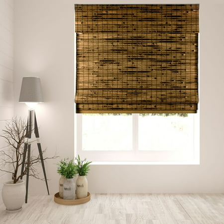 Kona Natural Roman Shade (Arlo Blinds Cordless Java Deep Bamboo Roman Shades Blinds - Size: 19