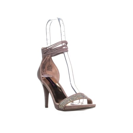 Womens MG35 Mella Front Bejeweled Strap Ankle Strap Sandals, Blush, 7 US