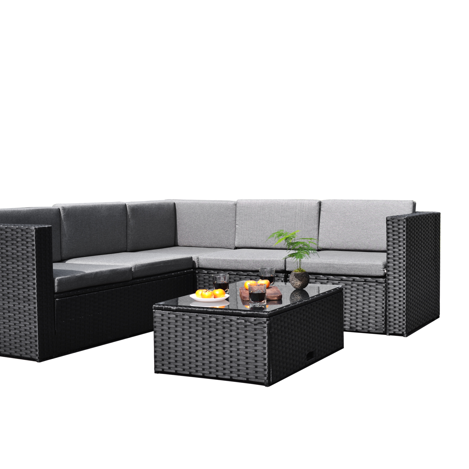 Sky Patio 4 Pieces Outdoor Furniture Complete Patio Wicker Rattan Garden  Corner Sofa Couch Set,