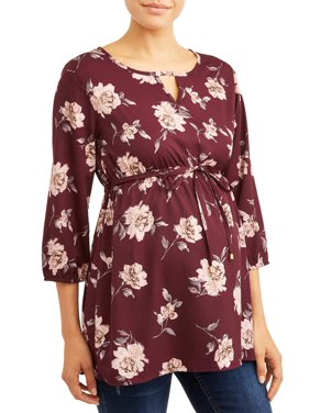 Maternity Notched Elastic Empire Waist Tunic Top-Plus