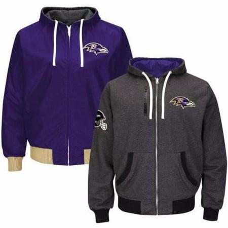 Baltimore Ravens Full Zip Reversible Hooded Sweatshirt - Raven Without Hood