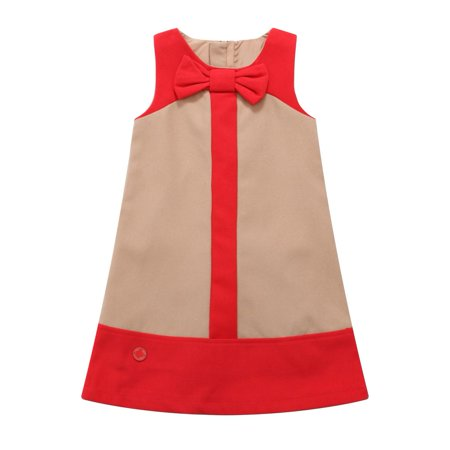 Richie House Little Girls Tan Red Paneled Bow Dress 6