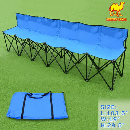 Strong Camel Folding Portable Team Sports Sideline Bench 6 Seater Outdoor Waterproof Carrybag (Portable Team Bench)