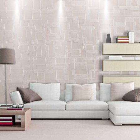 - Hifashion 380x20 inch  3D  European-style Wallpaper  with Light Beige, Light Coffee, Fleshcolor for Living Room, Bedroom, Study, Kids Room