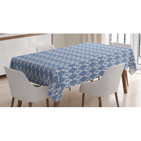 Blue and White Tablecloth, Abstract Tie Dye Style Ikat Shibori Pattern in Bohemian Fashion, Rectangular Table Cover for Dining Room Kitchen, 60 X 84 Inches, Navy Blue and White, by Ambesonne - Tie Dye Tablecloth
