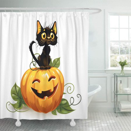 Easy Cartoon Characters For Halloween (PKNMT Orange Clip Black Cat on Halloween Pumpkin White Character Animal Autumn Cartoon Waterproof Bathroom Shower Curtains Set 66x72)