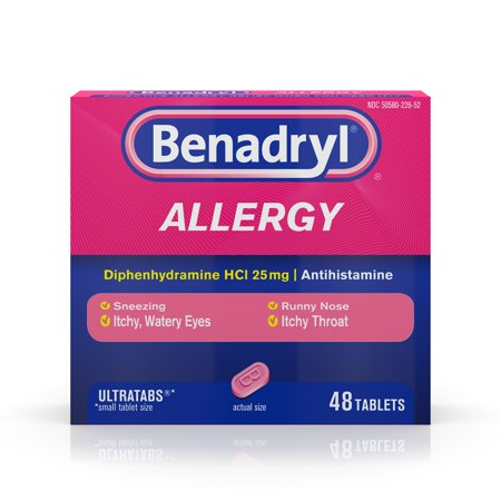 Benadryl Ultratab Antihistamine Allergy Medicine Tablets, 48 Ct