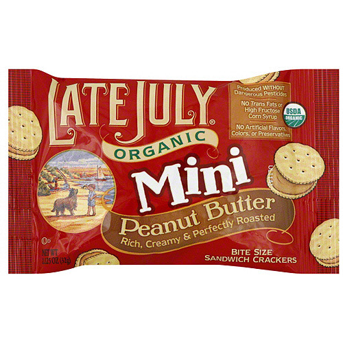 Late July Organic Bite Sized Peanut Butter Crackers, 1.13 oz (Pack of 8)