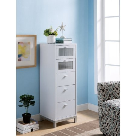 Benzara Wooden Five Drawers Utility Cabinet with Metal Handles and Base, White