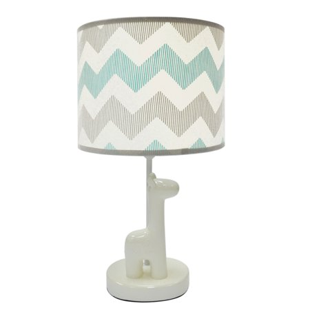 The Peanut Shell Nursery Lamp Grey And Mint Zig Zag Uptown Giraffe Base