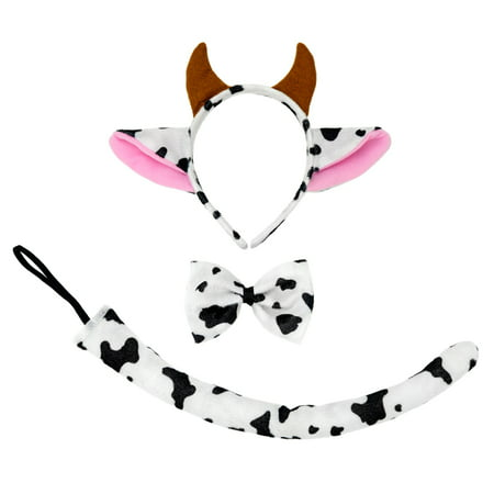 Halloween Costumes With Ties (SeasonsTrading Cow Ears Headband Tail & Bow Tie Costume Set (Pink) - Cute Halloween, Cosplay, Birthday Party, Cow Dress Up Day Accessories)