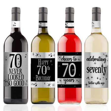 Silver Foil 70th Birthday Wine Labels 4ct - Black and Silver Birthday Party Supplies - 4 Wine Bottle Stickers with Gift Tags - Wine Bottle Covers Halloween