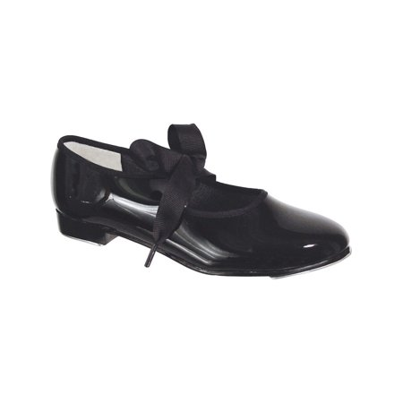 Girls Black Patent Flexible Ribbon Tie Wide Width Tap Shoes 6 Toddler-12 Kids