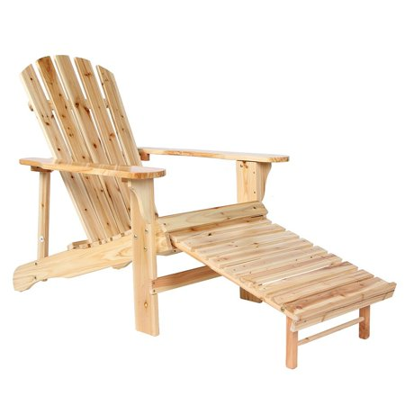 Wooden Adirondack Chair Painted With Clear Lacquer With Adjustable Footstool