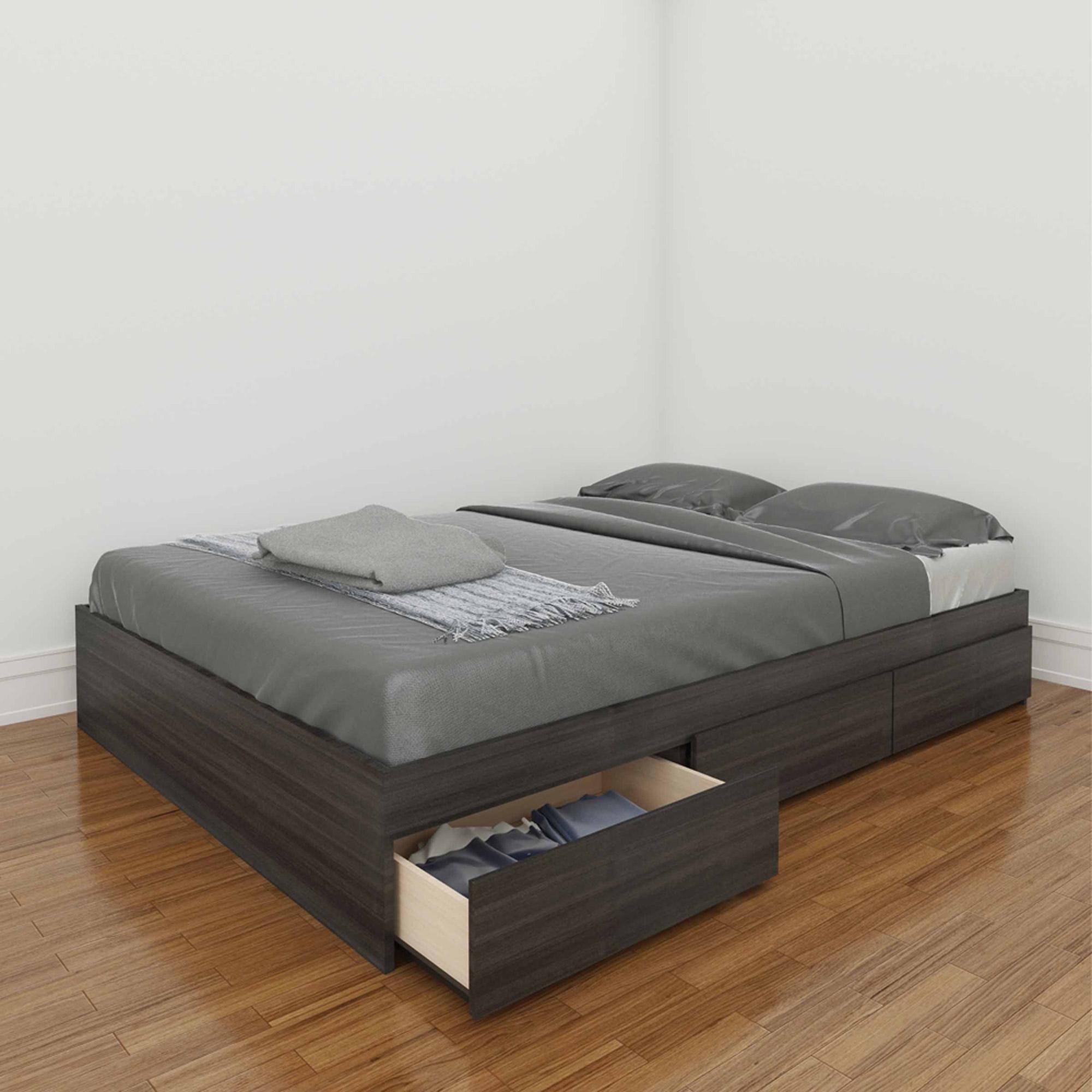 Nexera Atom Full Reversible Storage Bed, White/Ebony