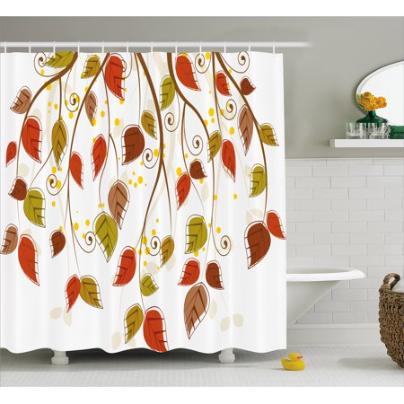 Autumn Shower Curtain Branches With Fall Leaves Seasonal Colors Nature Environment Foliage Fabric Bathroom