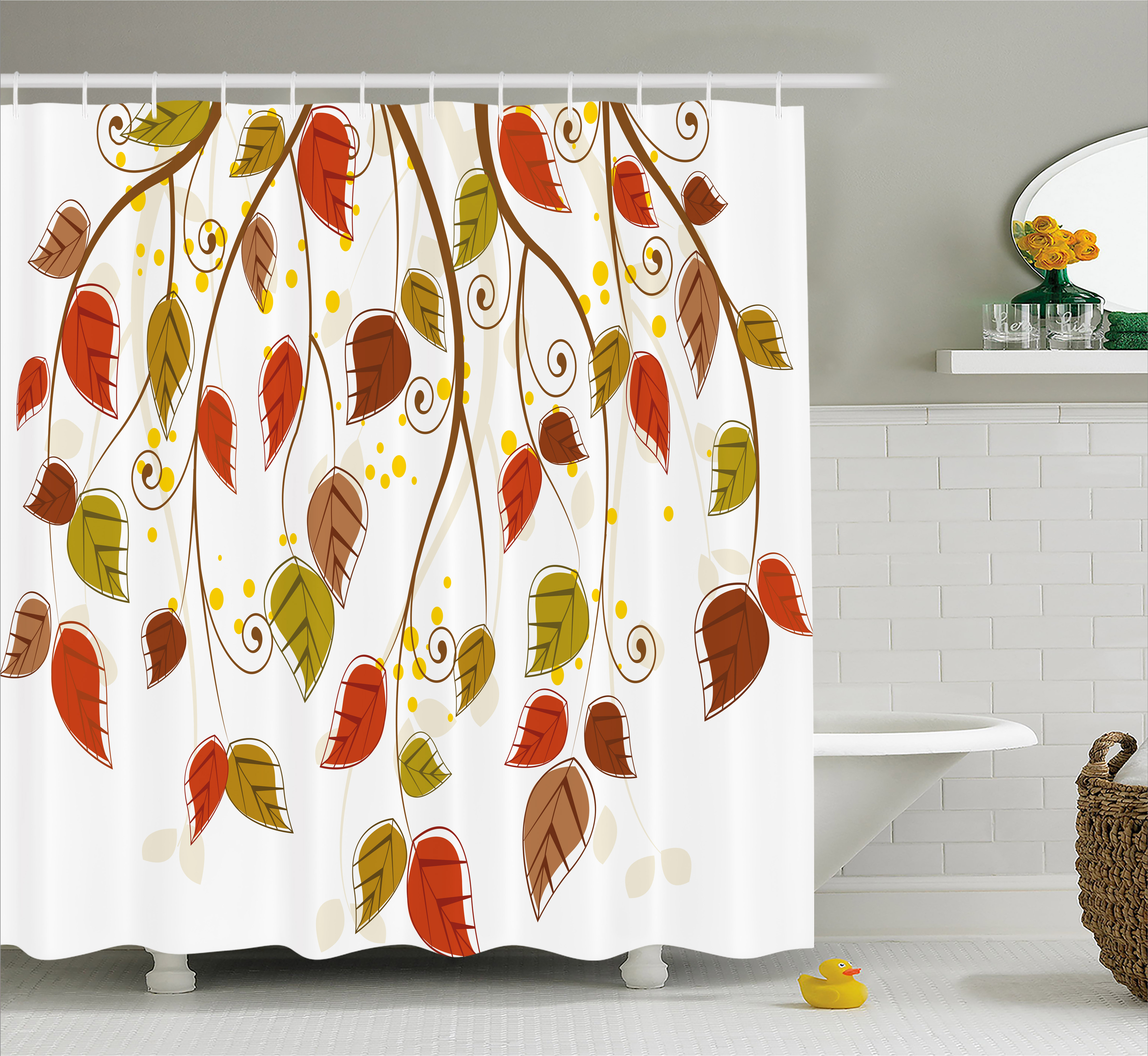 Autumn Shower Curtain, Branches With Fall Leaves Seasonal Colors Nature  Environment Foliage, Fabric Bathroom