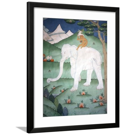 Painting of the Four Harmonious Friends in Buddhism, Elephant, Monkey, Rabbit and Partridge, Inside Framed Print Wall Art By Lee