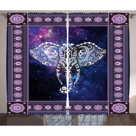 Animal Curtains 2 Panels Set, Elephant in a Frame on Outer Space Galaxy Stars Andromeda Background Art Print, Window Drapes for Living Room Bedroom, 108W X 84L Inches, Mauve Purple, by Ambesonne