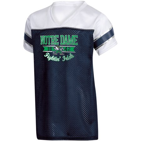 Girls Youth Russell Navy Notre Dame Fighting Irish Team V-Neck T-Shirt - Notre Dame Party Supplies